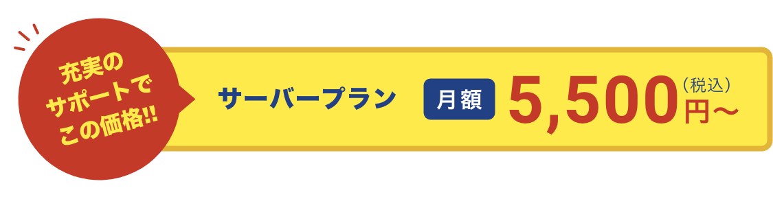 サーバープラン 月額5500円〜